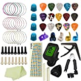 Kit de accesorios de guitarra, Macllar Accesorios de guitarra Cortador de cuerdas, Cuerdas de guitarra, Pines de puente de guitarra, Púas de dedo, Púas de guitarra