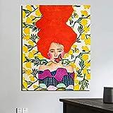 KWzEQ Mariposa y niña Lienzo Arte de la Pared Retro Poster Print Moderno para Sala de Estar decoración del hogar,Pintura sin Marco,40x50cm