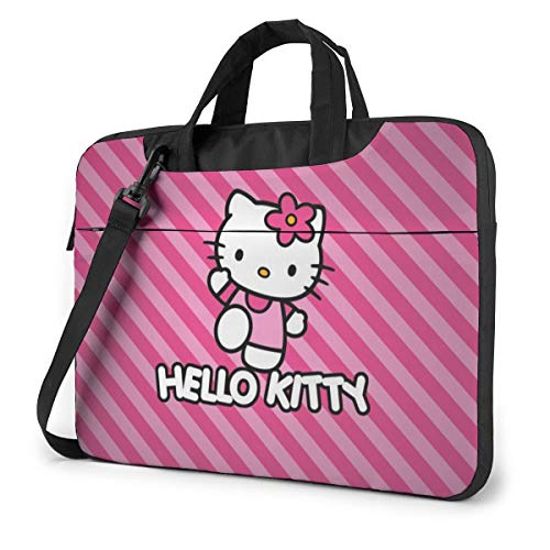 Cartoon Anime Cute Hello Kitty Pint Strip Line Laptop Bags Laptop Protective Cases Hand Held One Shoulder Shockproof Oxford Laptop Protective Case/Tablet PC Briefcase Compatible Bag