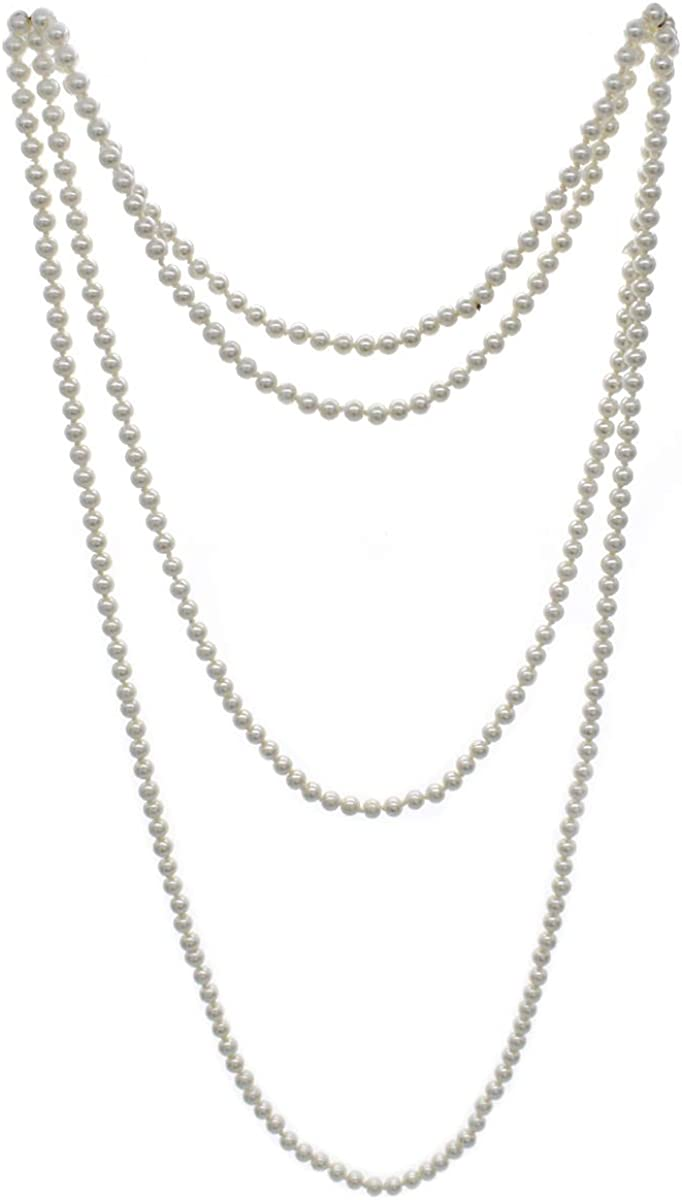 We We Women's Faux Pearl Necklace Long Pearl Necklace Costume Jewelry 1920s Flapper Necklace 60 Inches