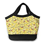 Cute Yellow Duck Mochila Tote Bolso Lunchbox Food Container Cooler Bolsa cálida