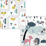 Alfombra de juegos para bebé plegable de espuma XPE, alfombra infantil suave, reversible, resistente al agua, plegable, portátil, extragrande, 200 × 180 × 1 cm (AR AND ZOO)