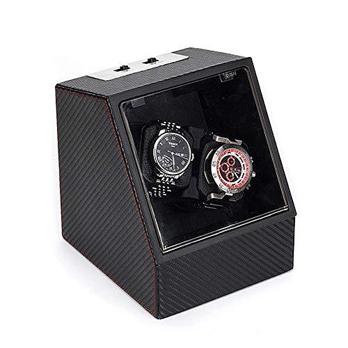 SCJ Enrollador de Reloj, Motor silencioso, Alimentado por batería y alimentación de CA, Doble Caja de bobinado automático para 2 Relojes mecánicos-D