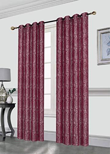 Kashi Home Sabrina 52X84 Grommet Curtain Panel, Decorative Silver Foil Print Room Darkening Blackout Window Treatment Panel, Burgundy, 2 Pack