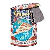 Relaxdays Puff Almacenaje Vintage con Tapa Motivo Pizza, PVC-Metal, Multicolor, 44 x 32 x 32 cm