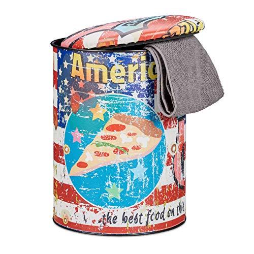 Relaxdays Sitztonne Vintage, Sitzhocker mit Pizza Motiv, Route 66, Hocker mit Deckel, Sitzpolster, HxD: 44 x 32 cm, bunt