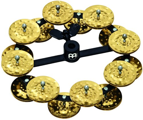 Meinl Percussion HTHH2B-BK Headliner Series Hi-Hat Tambourine With Double Row Hammered Brass Jingles 5-Inch - Black