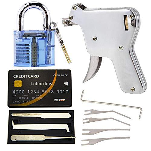 Loboo Idea Lock Pick Gun con cerradura de tarjeta de crédito Kit de herramientas y candado azul cerrajero herramienta abridor de cerradura de puerta (UP)