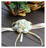 miaoyu Pulsera de mano con cinta ajustable para boda, color blanco