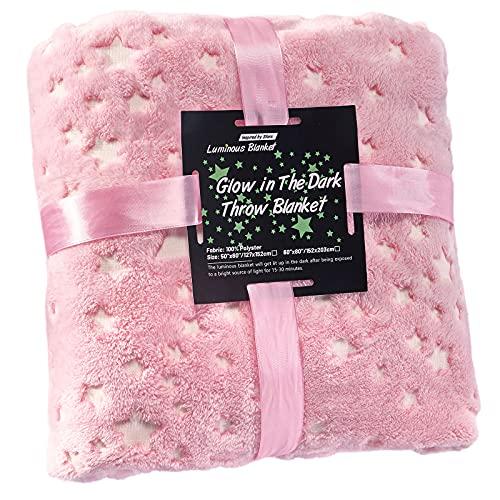 Manta para niños VIVILINEN, manta para crecer en la oscuridad con estrellas, manta de microfibra suave para niños y niñas, franela (Rosa, 120x150cm)