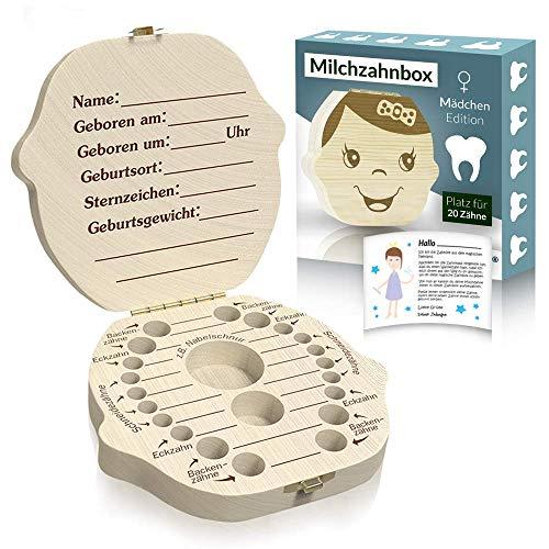 Original Zrilubkrelz® Zahnbox Zahndose für Kinder aus Holz | inkl. Brief | Deutsche Sprache | 2 Versionen für Junge & Mädchen | Milchzahndose Milchzahnbox für Milchzähne als Geschenk Geburt