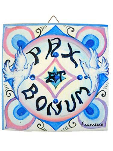 MATTONELLA de cerámica Paz y Bene, baldosas o mattonelline estampadas de sublimación con la texto Pax et Bonum PB5X Color altezza10cm, larghezza10cm grosor 1cm.