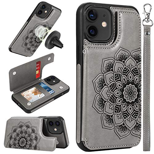 CASEOWL Case Wallet Compatible for iPhone 12/12 Prowith Card Holder,RFID Blocking,Kick Stand,Wrist Strap,Fit Magnetic Car Mount,Mandala Embossed Leather CaseCompatible for iPhone 12/12 Pro Gray
