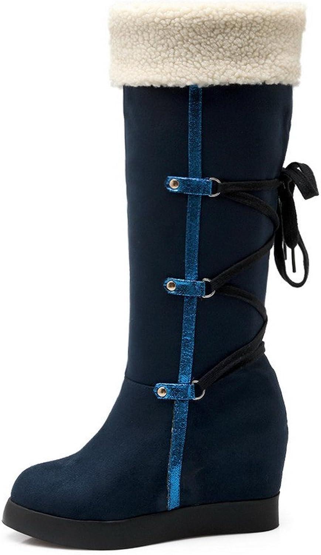 AllhqFashion Women's Closed-Toe Low-Heels Emerizing Solid High-Top Boots