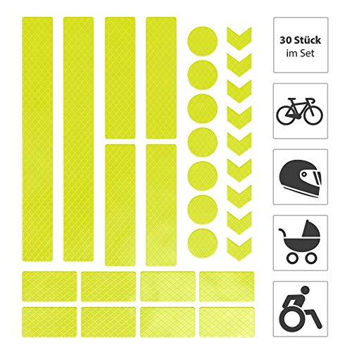 EAZY CASE 30 x Leuchtaufkleber, Reflektierende Aufkleber, Reflektor Band, Sicherheit im Dunkeln, wasserfest, selbstklebend für Fahrrad, Kinderwagen, Schulranzen, Rucksack, Kleidung, Neon Gelb