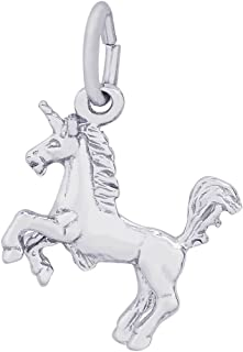 Sterling Silver Unicorn Accent Charm on a 16, 18 or 20 inch Rope, Box or Curb Chain Necklace