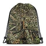 Yuanmeiju Hunting Camo Forest Hide Party 3D Print Drawstring Backpack Rucksack Shoulder Bags Bolsa de Gimnasio For Adult 17'X14'