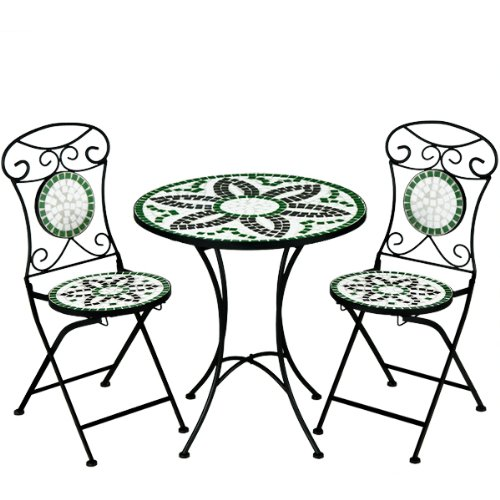 Deuba Mosaiksitzgarnitur Flora 2X Stuhl + 1 Tisch Sitzgruppe Mosaiktisch Mosaikstuhl Gartentisch