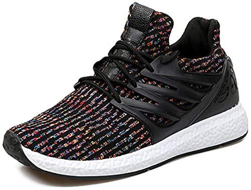 gracosy Baskets Mode Homme Femme, Sports Léger Sneakers Basses Chaussures de Course Running Ville Training Tennis, Noire Grise (Grille de Poiture à Voir)