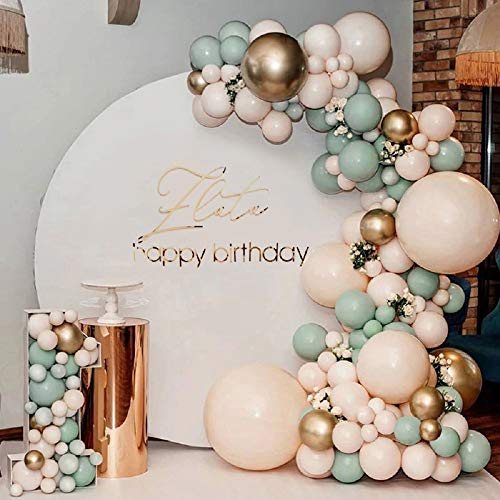 YSF 117 PCS Sage Olive Green Balloons Decor, Improved Design Sage Green Peach Blush Gold Balloon Garland Arch Kit, Jungle Safari Tropical for Baby Shower Wedding Birthday Theme Party Decorations Supplies