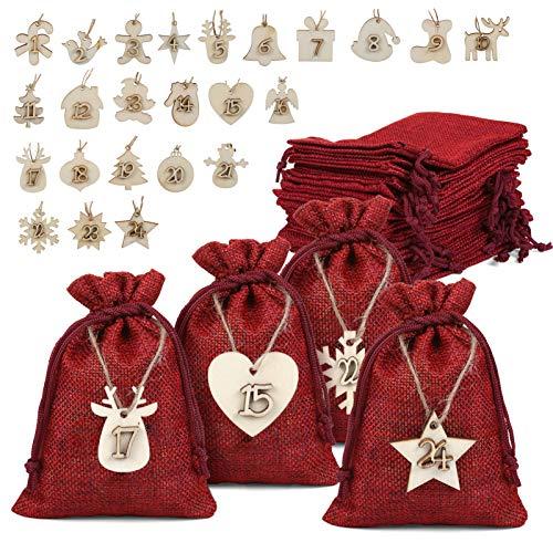 Naler 24 x Jutesäckchen Adventskalender Stoffbeutel mit Zahlen Holzanhänger Jute Beutel Säckchen für Weihnachten Geschenksäckchen - 10 x 14 cm