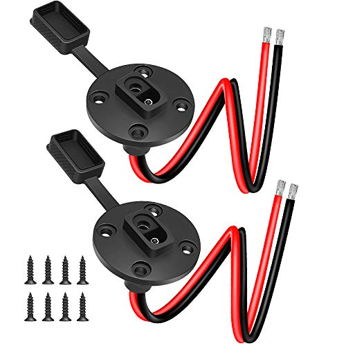SAE Connector, Electop Solar Weatherproof SAE Socket Sidewall Port, SAE Cable Quick Connect Panel Mount Universal Flush-Mountable Connector for Solar Generator Battery Charger with 8 Screws(2 Pack)