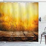 ABAKUHAUS Fallen Duschvorhang, Leere Tabletop & Weizen, mit 12 Ringe Set Wasserdicht Stielvoll Modern Farbfest & Schimmel Resistent, 175 x 200 cm, Braun Orange Gelb