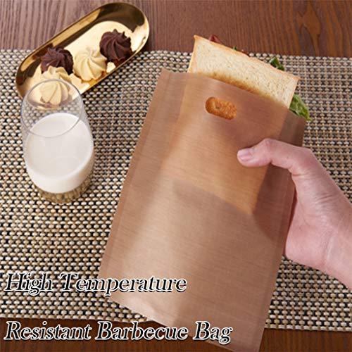 Hukz 10 Stück Antihaft Toastabags Wiederverwendbar für Mikrowelle, Toaster und Backofen, Toasterbeutel Toaster Bags Toasterbags BBQ Grill Barbecue Toast Bag Teflon Toaster Beutel Toastabag,16 x16.5cm
