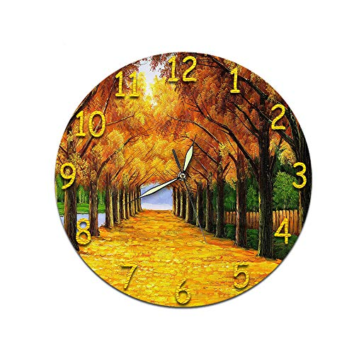 LUOYLYM Pflanze Wohnzimmer Kunst 3D Digital Wanduhr Acryl Stumm Startseite Kreative Mode Runden Spiegel Uhr P190430-205 (Luminous Pointer) 28cm