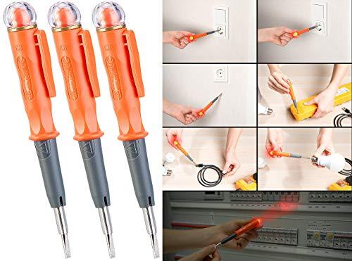 reVolt Stromprüfer: 3er-Set Multifunktions-Spannungsprüfer und Induktions-Tester, LED (Spannungstester)
