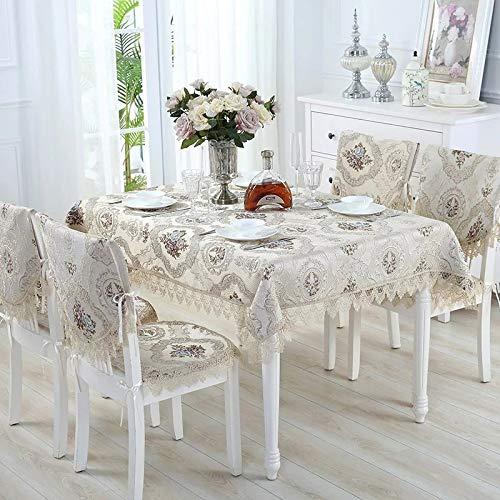 nobranded Mantel Paño Tridimensional con Estampado de Flores, Beige, Varios tamaños para la Cubierta de la Mesa Mantel Fiesta Banquete Cubierta de la Mesa del Comedor