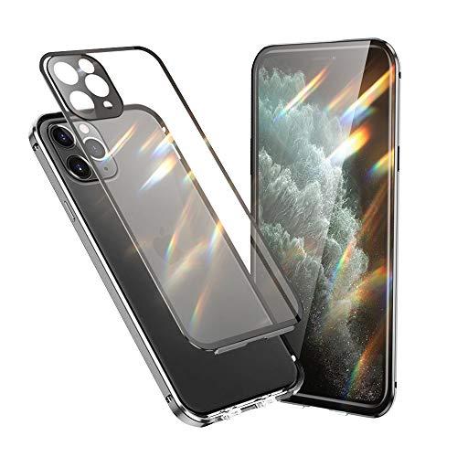 Jonwelsy Funda Compatible con iPhone 11 Pro (5,8'), 360 Grados Delantera y Trasera Vidrio Templado Case con Protección Lentes Cámara, Metal Bumper a Prueba de choques Carcasa (Plata)