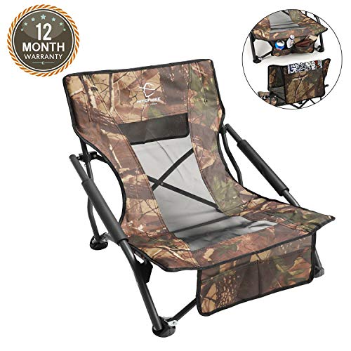 HITORHIKE Camping Strutter Folding Chair with Armrests and Breathable Nylon Mesh Back Compact and Sturdy Camo Low Hunting Chair