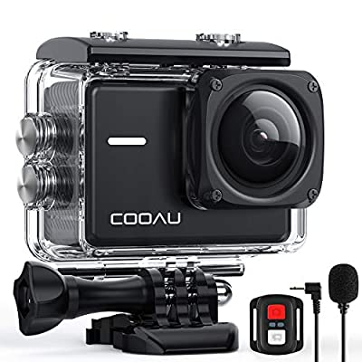 COOAU Native 4K 60fps 20MP Wi-Fi Action Sports Camera with 8XZoom Upgraded EIS Anti-Shake 40M Waterproof Underwater Case 170° Adjustable Wide Angle External Microphone 2x1350mAh Batteries from COOAU