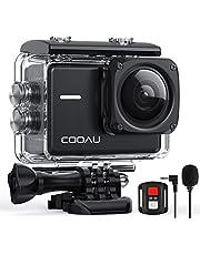 COOAU Action Cam 4K Nativo 60fps 20MP con WiFi Zoom 8X Nuova Stabilizzatore Elettronica, Subacquea Impermeabile 40m, Obbiettivo Grandangolare Regolabile, Microfono Esterno 2x1350mAh Batterie