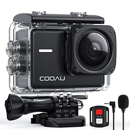 COOAU Native 4K 60fps 20MP Wi-Fi Action Sports Camera with 8XZoom Upgraded EIS Anti-Shake 40M Rugged Waterproof Underwater Case 170° Adjustable Wide Angle External Microphone 2x1350mAh Batteries