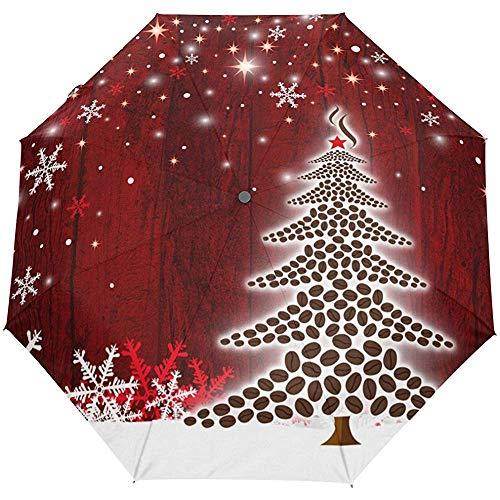 Frohe Weihnachten Frohes Neues Jahr Winter Frühling Kaffeebohnen Auto Open Close Sun Regen Regenschirm
