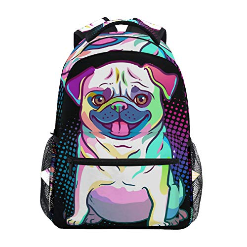 School Backpack Pug Dog Pop Art Style Teens Girls Boys Schoolbag Travel Bag