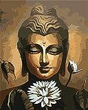 Pintar por números para Adultos Estatua de Buda y lotoDIY Pintura al óleo Kit lienzos Niños y Principiantes acrilicas Cuadros Manualidades Decoracion Regalo 40x50 cm(Con marco)