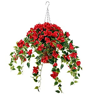 Artificial Flowers Hanging Basket with Bougainvillea Silk Vine Flowers for Outdoor/Indoor, Artificial Hanging Plant in Basket, Ivy Basket Artificial Hanging Plant for Patio Lawn Garden Decor (red)