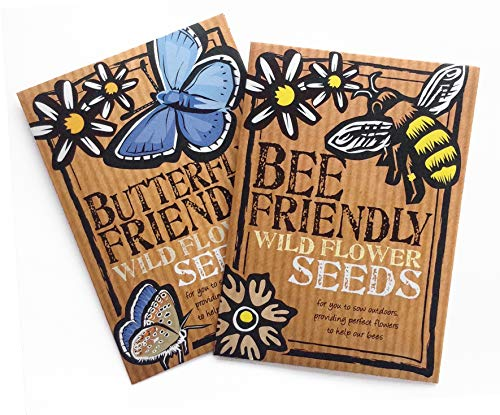 Bee and Butterfly Friendly Wild Flower Seeds Duo Pack - Beautiful Flowers in Many Colours, Great Gardener Gift. Over 1000 Seeds Per Packet, RHS Perfect for Pollinators Mix.