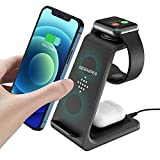 GEEKERA Wireless Charger, 3 in 1 Wireless Charging Stand Dock for Apple iPhone 8/9/10/11 Series/12/12 Pro/12 Pro Max/AirPods 2/Pro Android Phone Apple Watch 2/3/4/5/6/SE, Temperature Control
