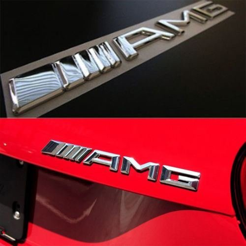Emma 2/ pcs 3D AMG Chrome Noir Avant Badge des embl/èmes Autocollants