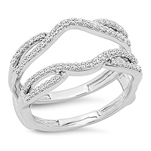 Dazzlingrock Collection 0.35 Carat (ctw) 10K White Diamond Wedding Band Enhancer Guard Double Ring 1/3 CT, White Gold, Size 7