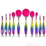 BeautyCoco 10pcs New Professional Makeup Brushes Set Super Soft Oval Toothbrush Shaped Makeup Brush Powder Blush Foundation Concealer Brow Brush Cosmetics Tool (Rainbow) (Rainbow)