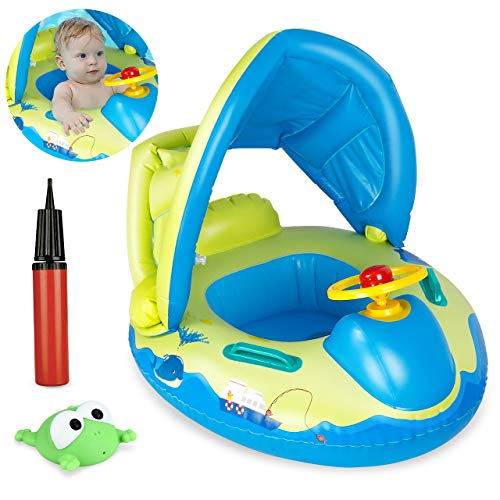 Homga Baby Pool Float, Baby Swimming Ring with Sun Canopy Inflatable for Age 3-36 Months Babies, Swimming Boat Pool Seat with Inflator Pump, Frog Toys