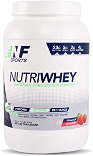 NF Sports NutriWhey - All-Natural Whey Protein Powder That Improves Post-Workout Recovery and Muscle Repair - Strawberry Flavor - 100% Satisfaction Guaranteed - 23 Servings