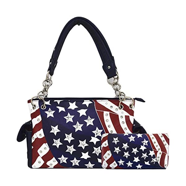 American Flag Stars and Stripes Concealed Carry Purse Women Studded Handbag Wallet Set Red White Blue