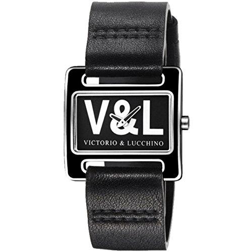 V & L VL071601 dames horloge met lederen armband, zwart/grijs