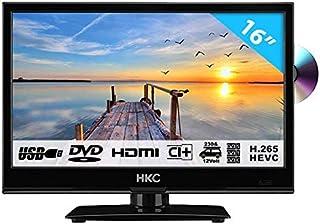 HKC 16M4C: Téléviseur LED de 16 Pouces avec Lecteur DVD (HD 1.366 x 768, Triple Tuner,..